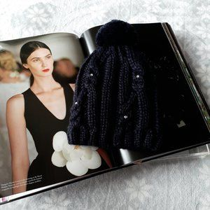 Roxy Girl black knit sparkle beanie pom pom hat